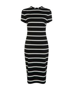 Black Stripe Cap Sleeve Midi Dress  | New Look