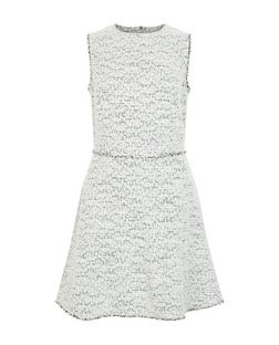 White Textured Fray Trim Sleeveless A-Line Dress  | New Look