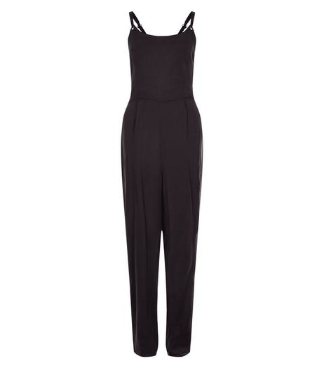 Black Eyelet Cut Out Back Jumpsuit  | New Look