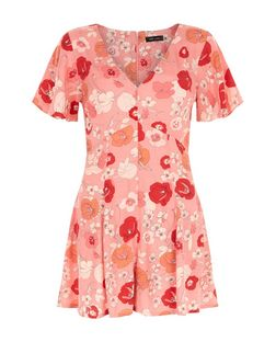 Red Floral Print Flutter Sleeve Playsuit  | New Look
