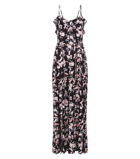 Black Floral Print Frill Trim Split Side Maxi Dress  | New Look