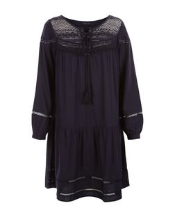 Navy Lace Panel Smock Dress | New Look