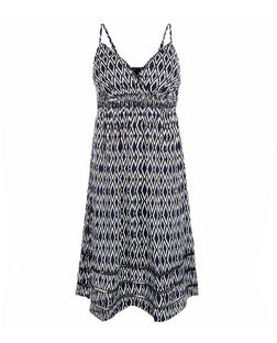 Blue Abstract Print Wrap Front Strappy Dress  | New Look
