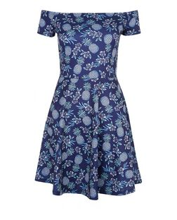 Blue Tropical Pineapple Print Bardot Neck Skater Dress  | New Look