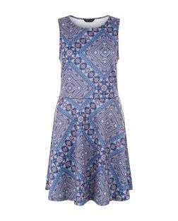 Blue Abstract Print Skater Dress  | New Look