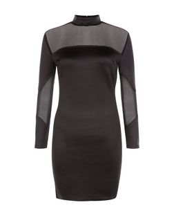 AX Paris Black Mesh Panel Bodycon Dress | New Look