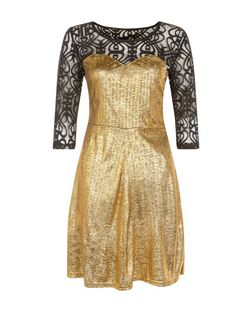 Mela Gold Lace Top Skater Dress | New Look