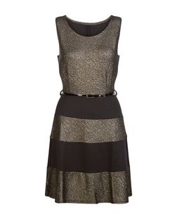 Mela Gold Stripe Belted Skater Dress | New Look