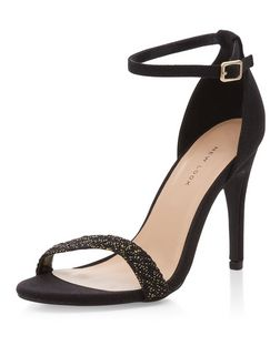 Black Canvas Plaited Strap Heeled Sandals  | New Look