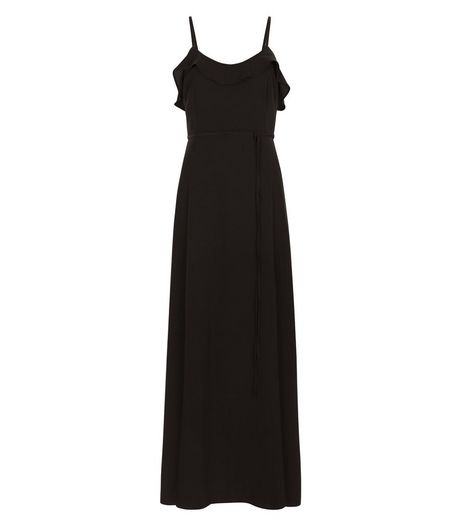 Black Frill Trim Tie Waist Maxi Dress  | New Look