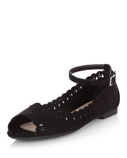 Teens Black Suedette Laser Cut Out Ankle Strap Pumps | New Look