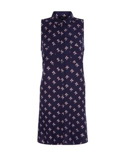 Navy Floral Print Swing Shift Dress  | New Look