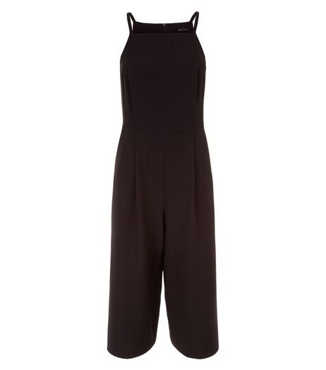 Black Crepe Culotte Jumpsuit  | New Look