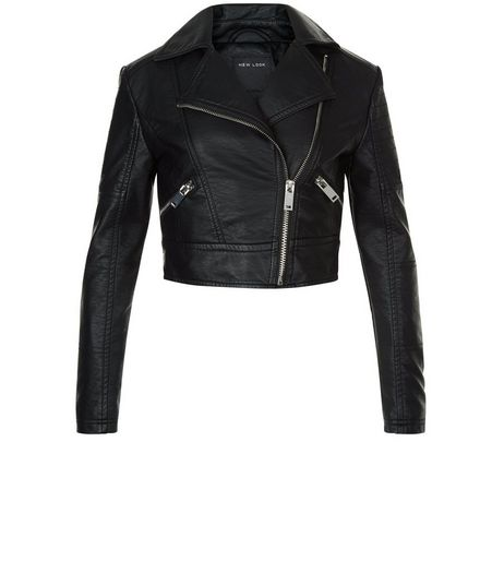Girls Black Leather-Look Biker Jacket | New Look