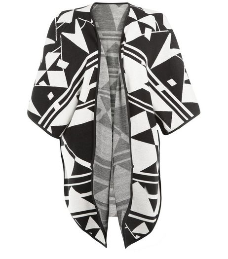 JDY Black Abstract Print Jacquard Blanket Wrap  | New Look
