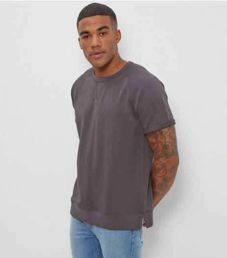 Dark Grey Short Sleeve Sweater  | New Look