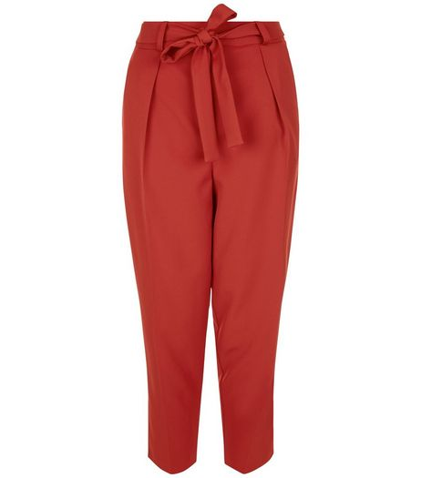 Rust Tie Waist Cropped Trousers  | New Look
