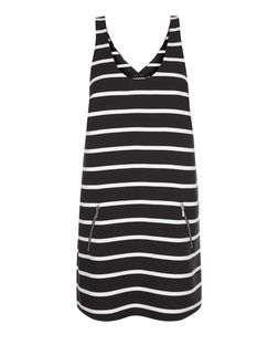 Black Stripe Zip Pocket Pinafore Dress  | New Look