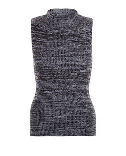 Blue Space Dye Funnel Neck Vest  | New Look