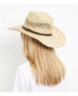 Stone Woven Leather-Look Trim Cowboy Hat | New Look