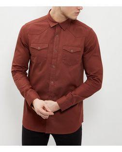 Red Double Pocket Long Sleeve Western Shirt  | New Look