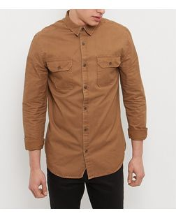 Camel Double Pocket Long Sleeve Shirt   | New Look