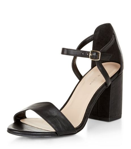 Black Ankle Strap Block Heels  | New Look