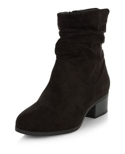 Wide Fit Black Suedette Ruched Boots  | New Look