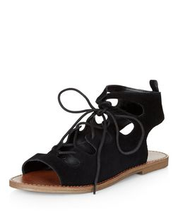 Wide Fit Black Suede Ghillie Sandals  | New Look