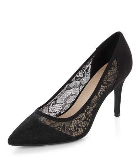 Wide Fit Black Lace Pointed Heels  | New Look