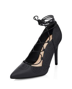 Wide Fit Black Laser Cut Out Pointed Ghillie Heels  | New Look