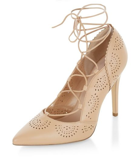 Wide Fit Camel Laser Cut Out Pointed Ghillie Heels  | New Look