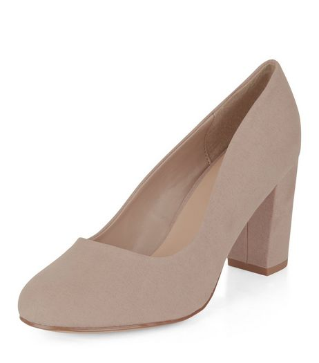 Wide Fit Light Brown Suedette Block Heel Court Shoes  | New Look