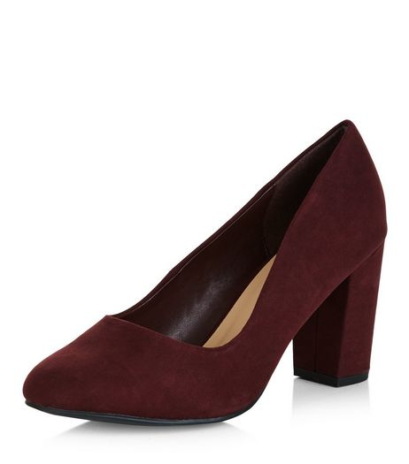 Wide Fit Dark Purple Suedette Block Heel Court Shoes  | New Look