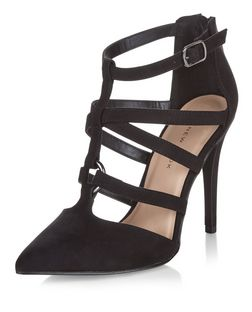 Wide Fit Black Suedette Strappy Pointed Heels  | New Look