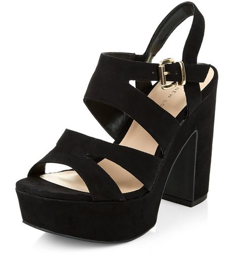 Wide Fit Black Strappy Platform Heels  | New Look