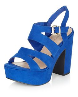 Wide Fit Bright Blue Strappy Platform Heels  | New Look