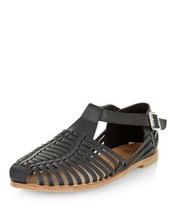 Teens Black Leather-Look Caged Sandals | New Look