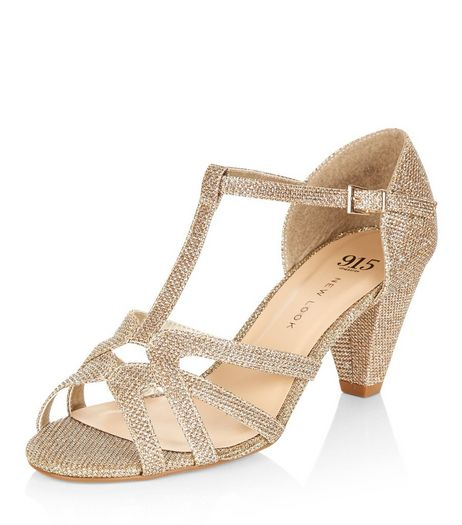 Teens Gold Glitter T-Bar Sandals | New Look