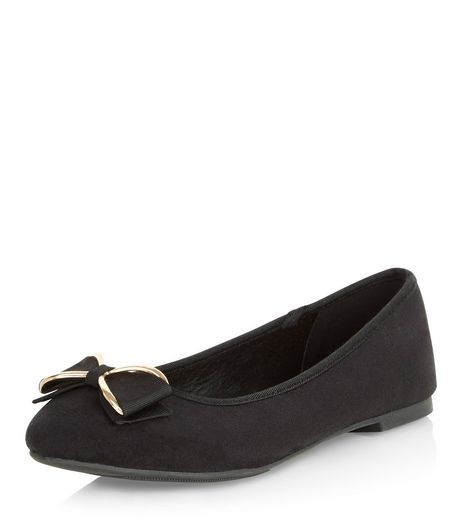 Teens Black Suedette Bow Ballet Pumps | New Look