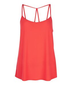 Coral Crepe Strappy Cami | New Look