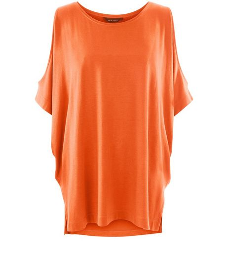Bright Orange Cold Shoulder Oversized Top | New Look