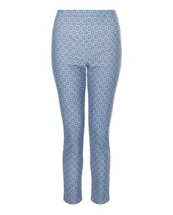 Blue Tile Print High Waist Slim Leg Trousers | New Look