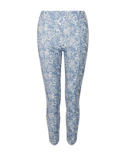 Blue Floral Print High Waisted Cropped Trousers  | New Look