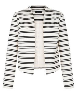 White Cotton Stripe Cropped Jacket  | New Look