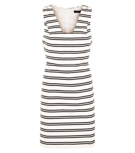 White Cotton Stripe Sleeveless Dress  | New Look