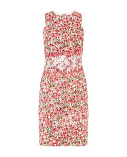 Red Floral Print Sleeveless Dress | New Look