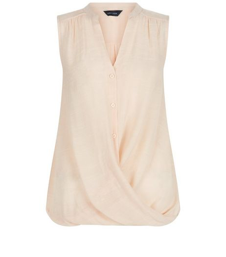 Light Brown Button Wrap Front Sleeveless Shirt  | New Look