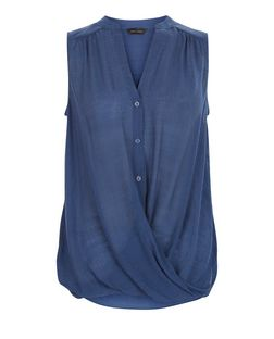 Navy Button Wrap Front Sleeveless Shirt | New Look