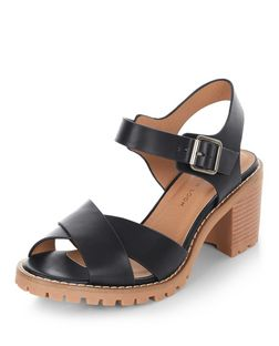 Wide Fit Black Cross Strap Heeled Sandals  | New Look